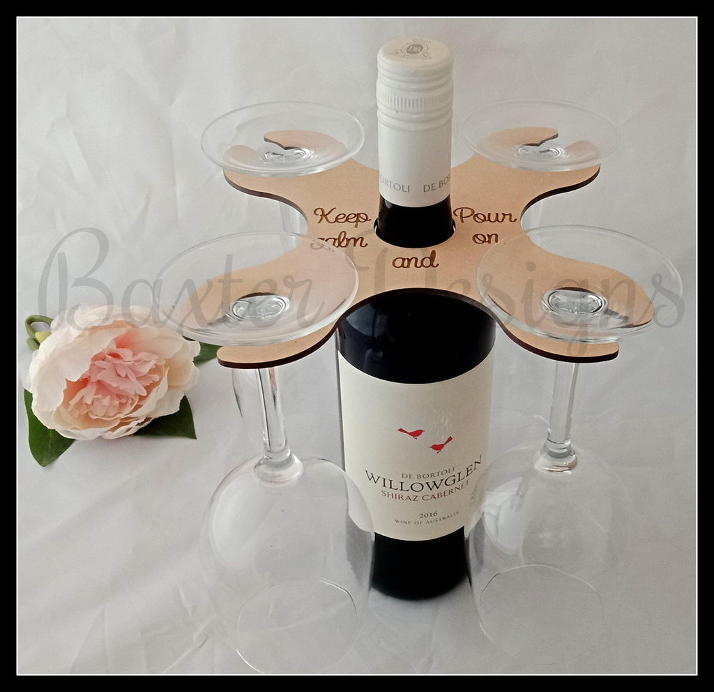Wine Caddy Bottle and 4 Glass Holder