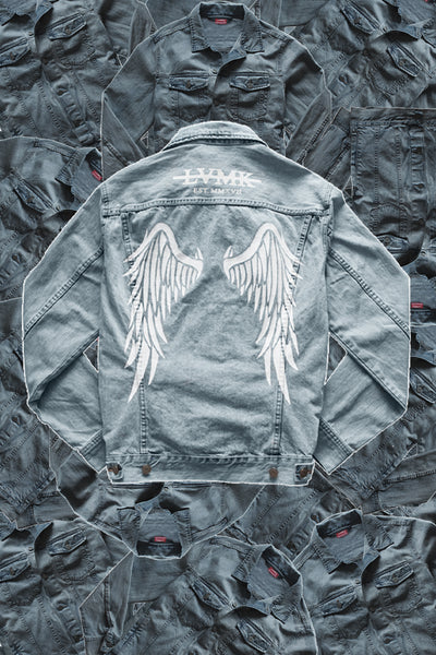 """BORN TO FLY"" DENIM JACKET (PAINTED)"