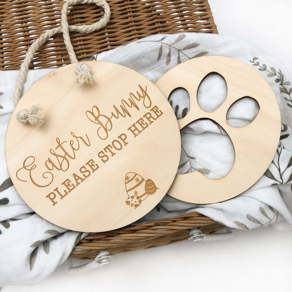 Easter Bunny Stop Here sign and Paw Print stencil set