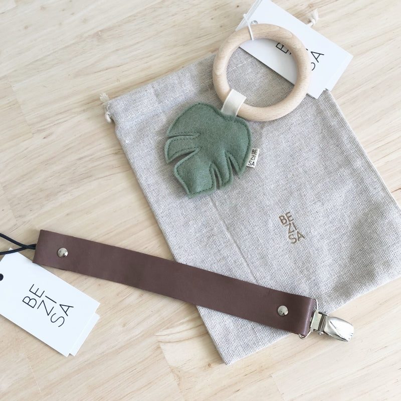 Leather Pacifier Clip - Taupe - Mini Village