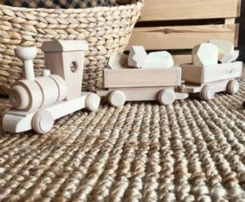 Wooden Toy Cargo Train Set - Pearl - Mini Village