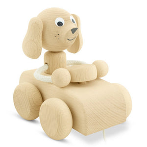 Wooden Pull Along Dog In Car - Cedric - Mini Village