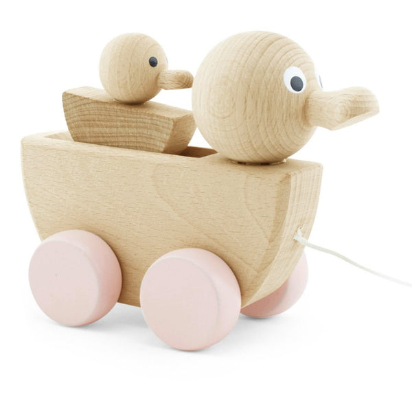Wooden Pull Along Toy Duck With Duckling - Georgia - Mini Village
