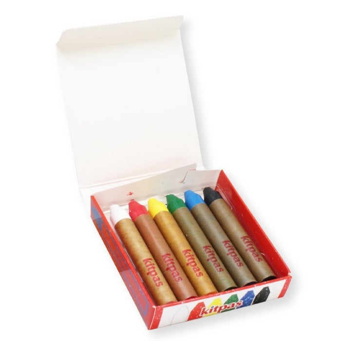 Kitpas Medium Crayons 6 Colours - Non Toxic Crayons - Mini Village