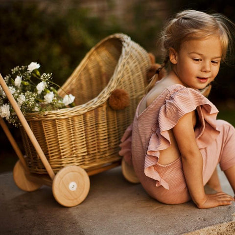 Wicker Dolls Pram - Gold - Mini Village