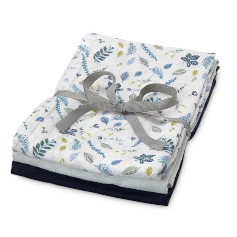 Organic Muslin Cloth Mix 3 Pack - Mix Pressed Leaves Blue, Baby Blue, Navy - Mini Village
