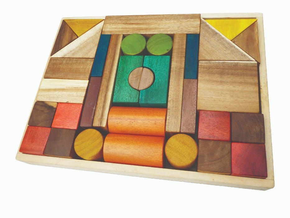 Natural Colour Wooden Blocks - Mini Village