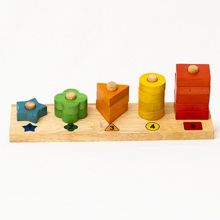 Wooden Counting Stair Stacker - Mini Village