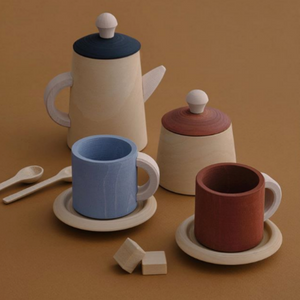 Wooden Tea Set - Terra and Blue - Mini Village