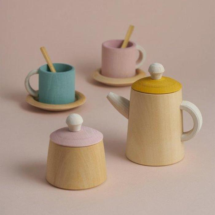 Wooden Tea Set - Mustard and Pink - Mini Village