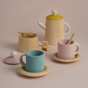 Wooden Tea Set - Mustard and Pink (Pre Order) - Mini Village