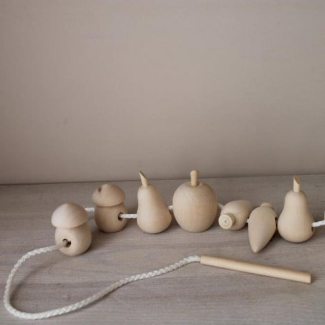 Wooden Fruits and Vegetable Lacing Toy - Mini Village