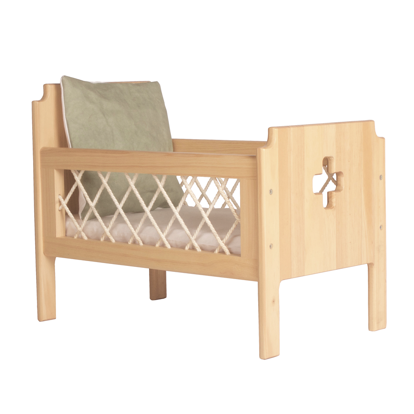 The Florence Dolls Cot + Bedding - Sage - Mini Village