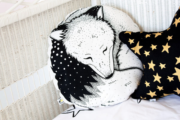 Organic Hand Printed Sleepy Fox Cushion - Mini Village