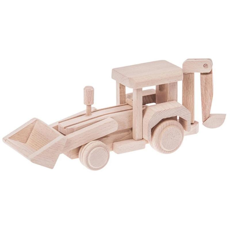 Bartu Wooden Backhoe Loader - Theo - Eco Friendly Wooden Toys - Mini Village