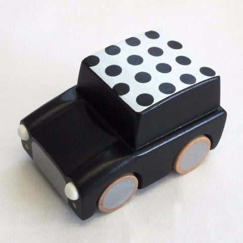 kiko+ kuruma wooden car toy-black dot. Made from Sustainable FSC certified wood and non-tocxic paints. Natural toy.