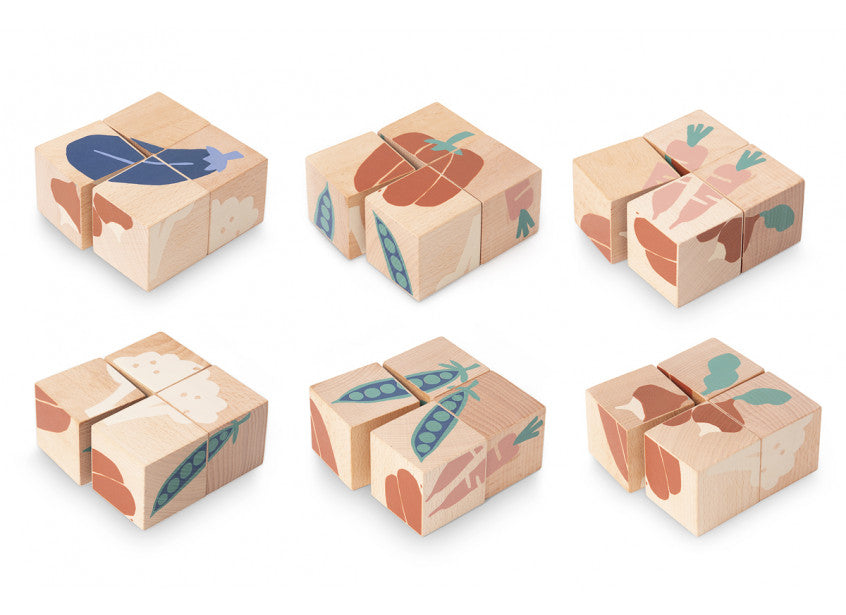 Veggies Wooden Cubes - Mini Village
