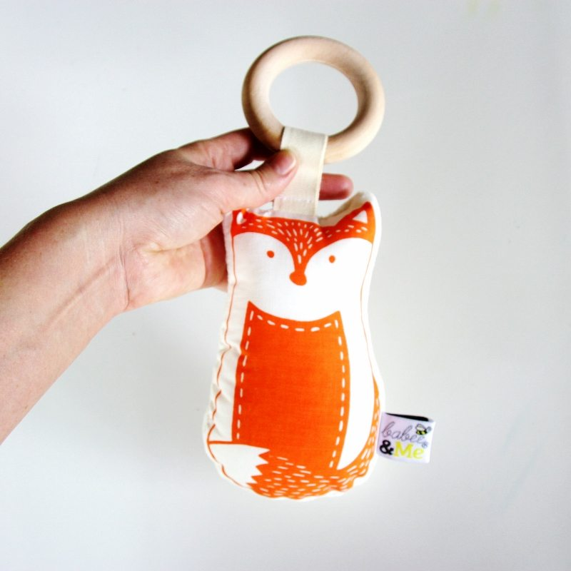 Organic Fox Teether Rattle Toy - Orange - Mini Village