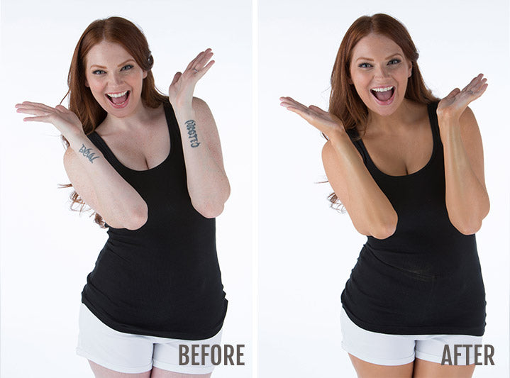 Before and after photos of a woman who has applied Body Coverage Perfector to cover arm tattoos