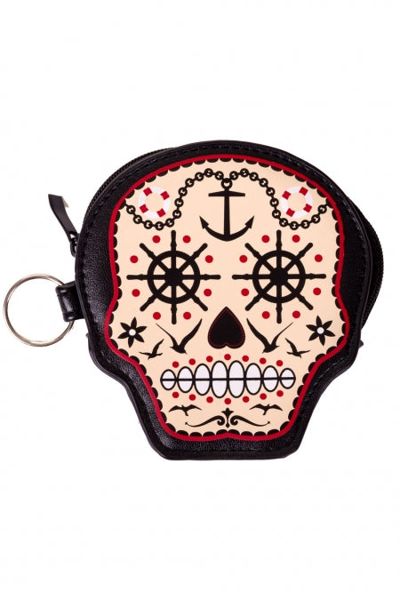 Banned prime time sugar skull coin purse