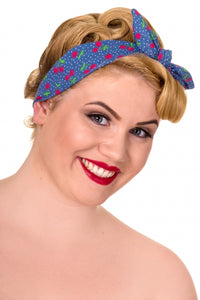 Banned apparel blue cherry print bandana knot headband