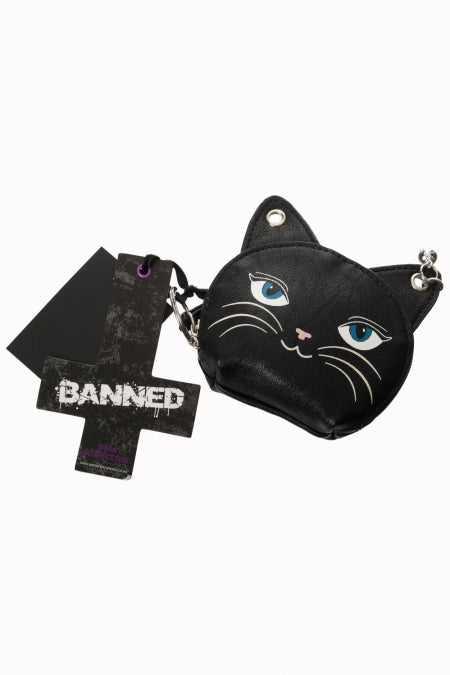Banned black kitty coin purse