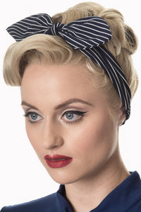 Banned apparel black and white stripes bandanna knot headband