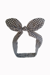 Banned apparel black and white checker bandanna knot headband