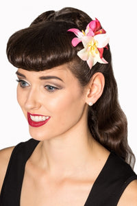 Banned apparel pink flower hair clip