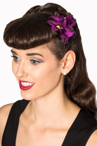 Banned apparel purple flower hair clip