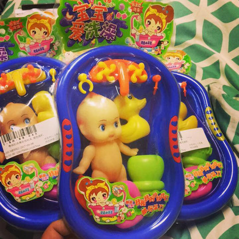 Kewpie doll toy bath tub play set