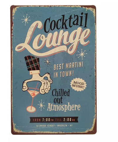 A4 cocktail lounge tin sign