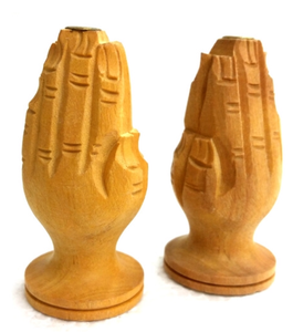 small wooden praying hands incense holder