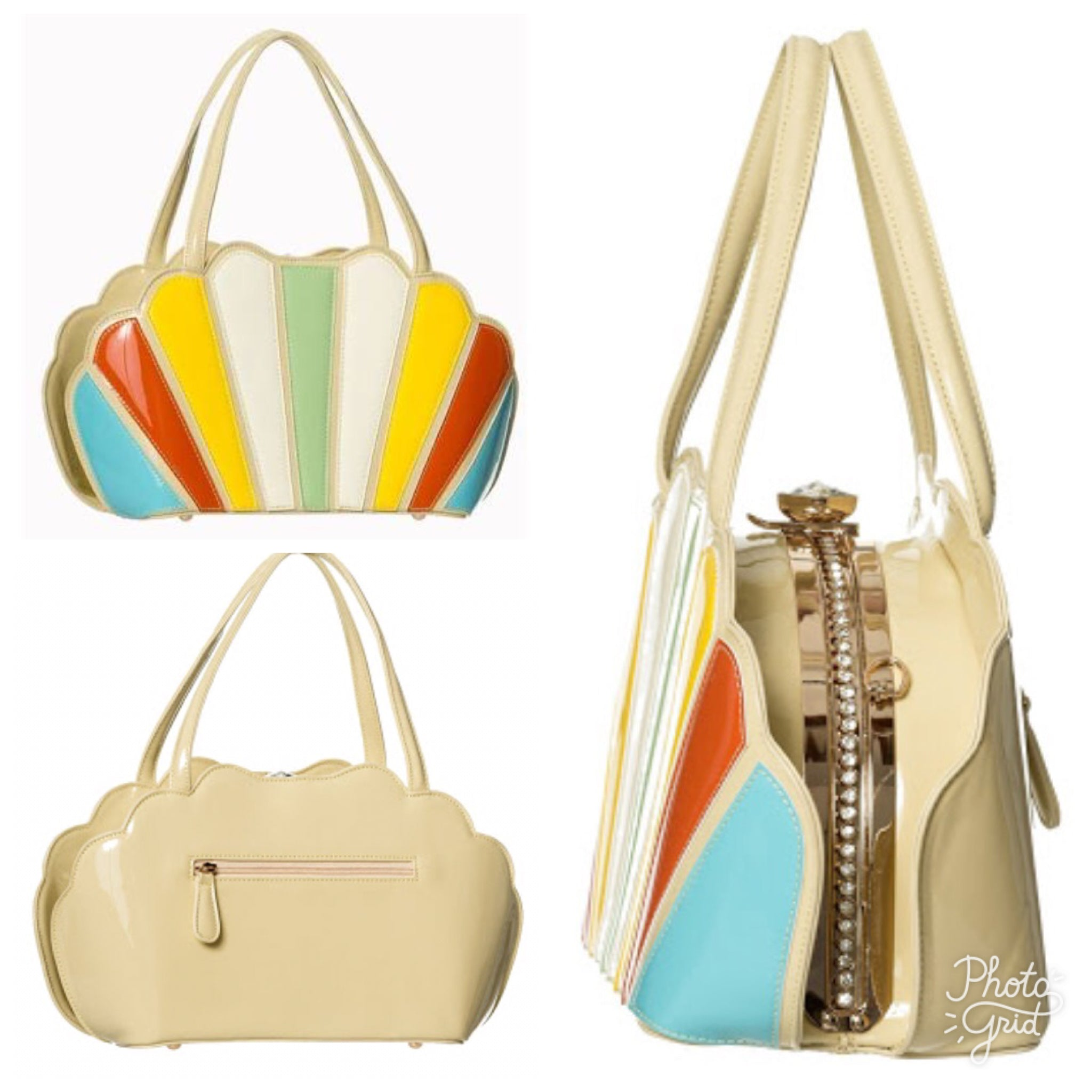 Banned apparel beige and rainbow shell shaped handbag