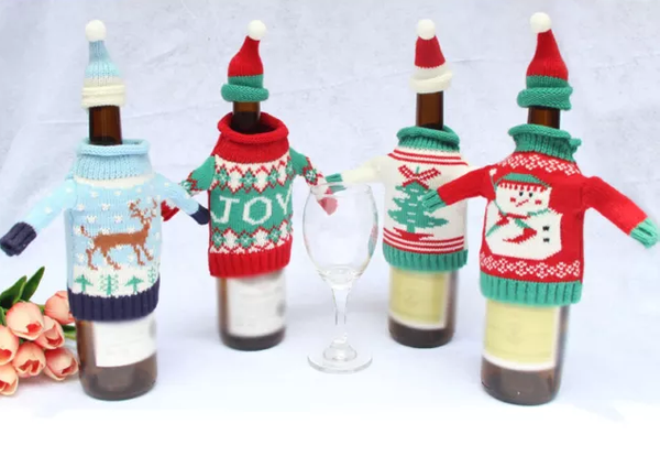 cute christmas sweater wine bottle jumper and beanie CHOOSE