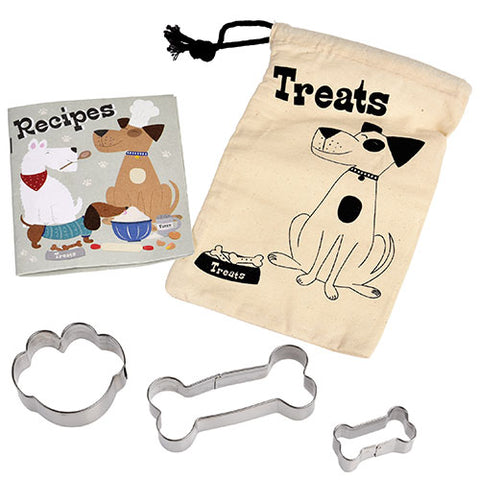 make you own dog treats gift set recipe book and cookie cutters