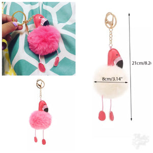 fluffy pink pompom flamingo key ring