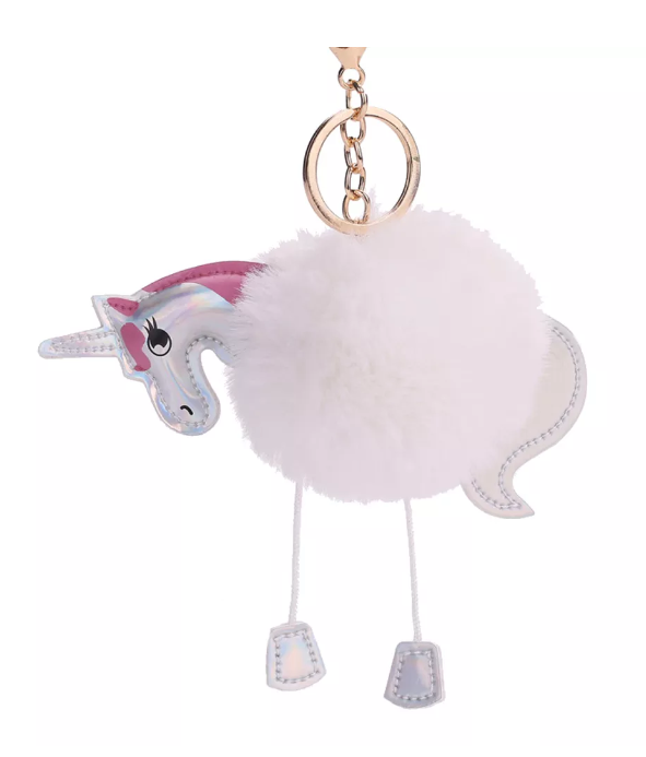 fluffy white pompom unicorn key ring