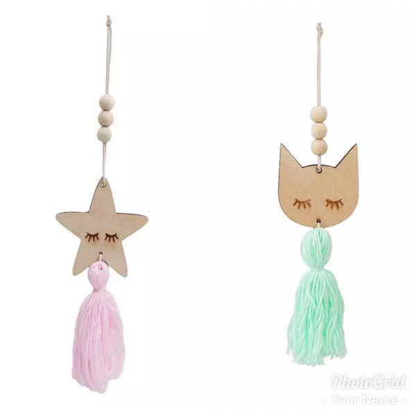 wooden cat or star beaded hanging decoration - you choose