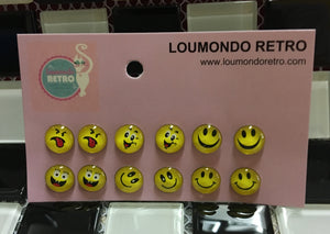 set of 6 pairs of emoji smiley face stud earrings