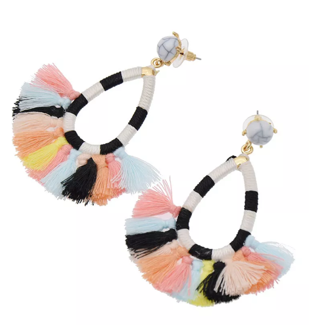 marble stud bohemian colourful tassel earrings