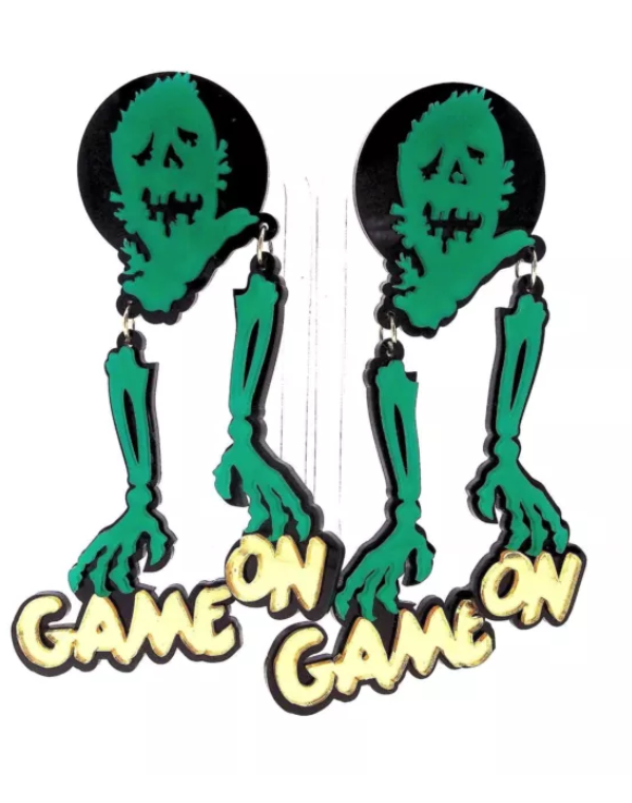 large comely design zombie game on earrings