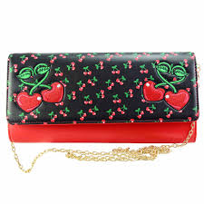 Banned fierceness red cherry clutch purse bag