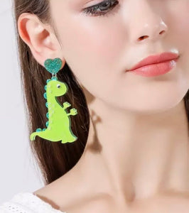 Green dino earrings