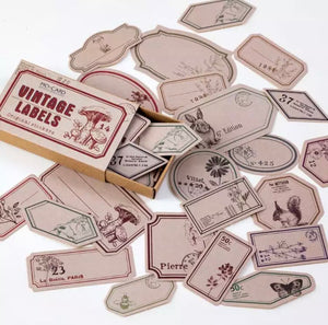 Vintage inspired scrapbook label stickers