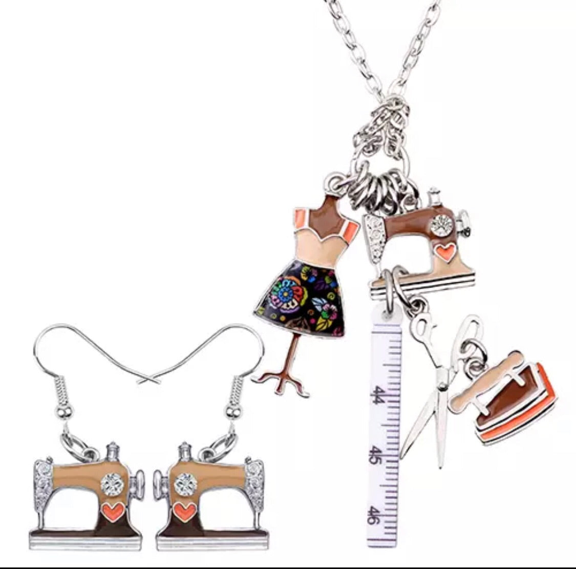 Bonsny sewers charm necklace and earrings set