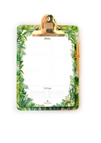 Arty hearts green jungle clipboard set