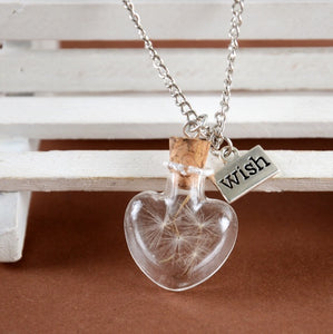 Dandelion wish necklace heart jar
