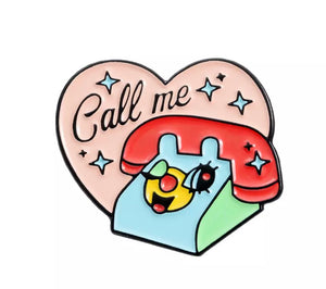Call me phone brooch pin