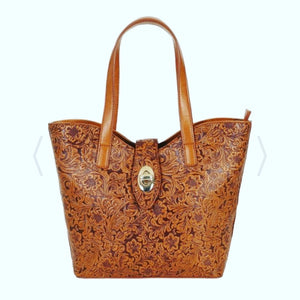 Collectif brown vintage look tooled PU handbag - Anna